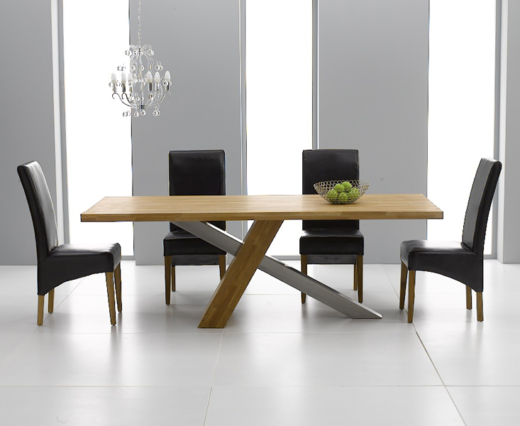 Chateau 180cm Oak and Metal Dining Table with Cannes Chairs