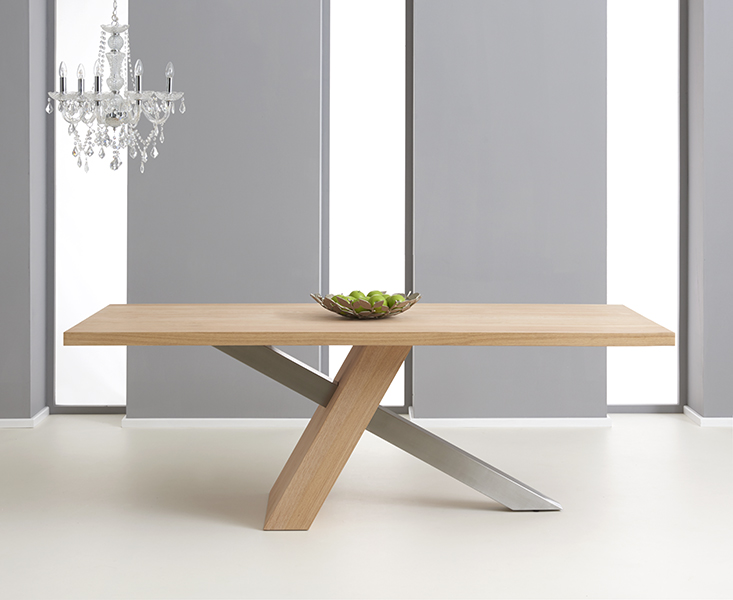 Chateau 180cm Oak and Metal Dining Table
